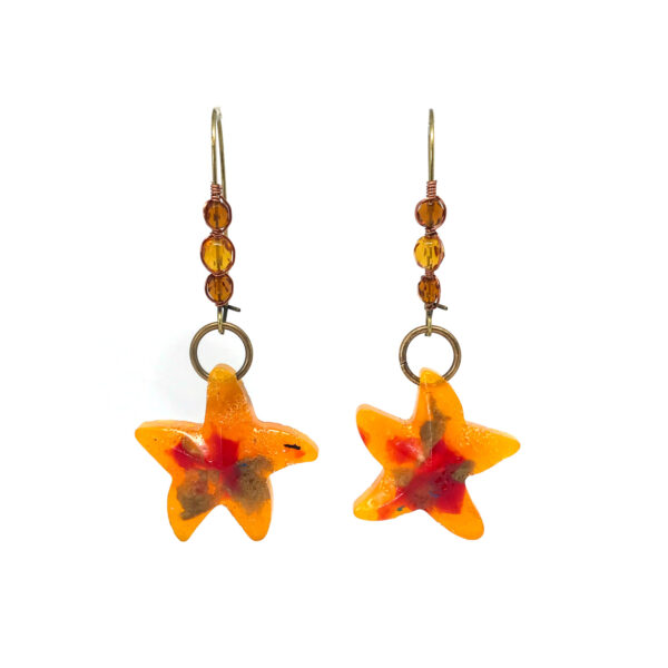 Starfish earrings made out of recycled plastic