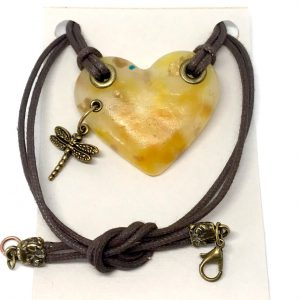Amber colored heart necklace