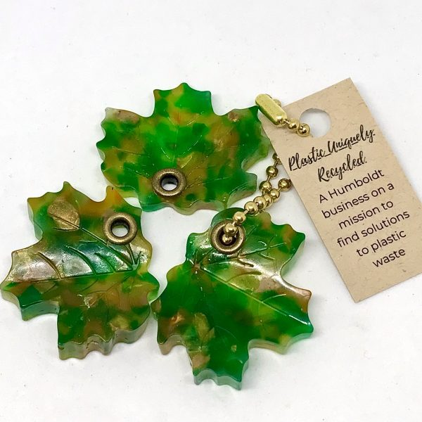 green recycled plastic maple leaf